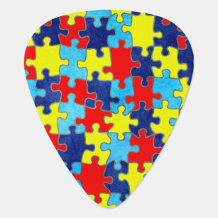 Autism Awareness-Puzzle by Shirley Taylor Guitar Pick