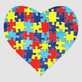 Autism Awareness-Puzzle by Shirley Taylor Heart Sticker