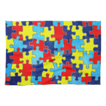 Autism Awareness-Puzzle by Shirley Taylor Kitchen Towel