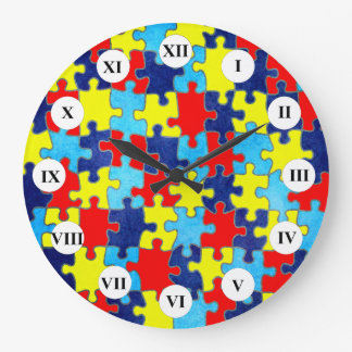 Autism Awareness-Puzzle by Shirley Taylor Large Clock
