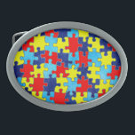 "Autism Awareness-Puzzle by Shirley Taylor Oval Belt Buckle<br><div class=""desc"">Autism awareness oval belt buckle. Click on the customize button to add your text. Image can be rotated or re-sized. Images Copyright © Shirley Taylor. All Rights Reserved.</div>"