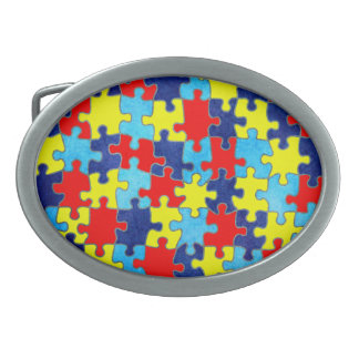 Autism Awareness-Puzzle by Shirley Taylor Oval Belt Buckle