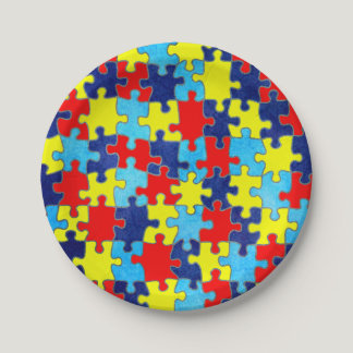 Autism Awareness-Puzzle by Shirley Taylor Paper Plate