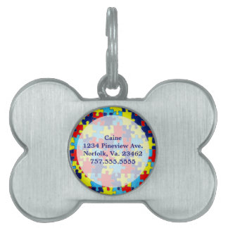 Autism Awareness-Puzzle by Shirley Taylor Pet Name Tag