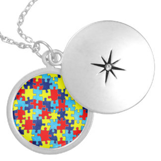 Autism Awareness-Puzzle by Shirley Taylor Round Locket Necklace
