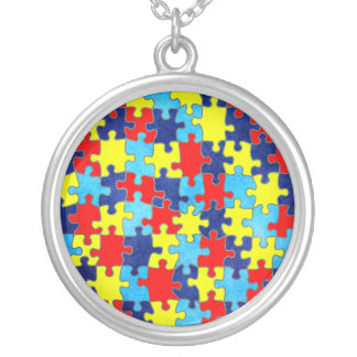 Autism Awareness-Puzzle by Shirley Taylor Round Pendant Necklace