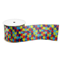 Autism Awareness-Puzzle by Shirley Taylor Satin Ribbon