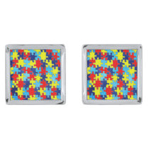 Autism Awareness-Puzzle by Shirley Taylor Silver Cufflinks