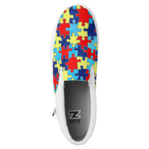 Autism Awareness-Puzzle by Shirley Taylor Slip-On Sneakers