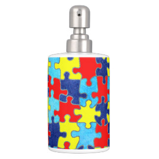 Autism Awareness-Puzzle by Shirley Taylor Soap Dispenser And Toothbrush Holder
