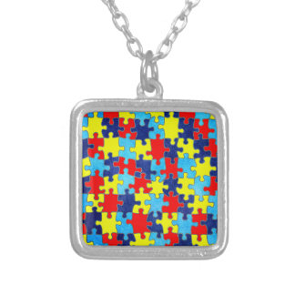 Autism Awareness-Puzzle by Shirley Taylor Square Pendant Necklace