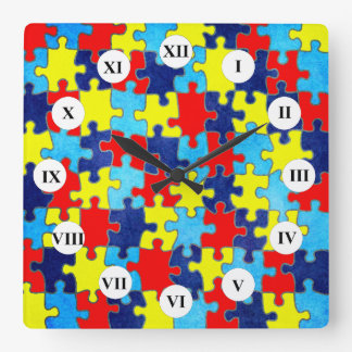 Autism Awareness-Puzzle by Shirley Taylor Square Wall Clock