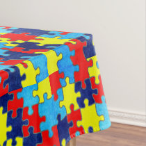 Autism Awareness-Puzzle by Shirley Taylor Tablecloth