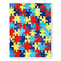 Autism Awareness-Puzzle by Shirley Taylor Temporary Tattoos