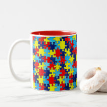 Autism Awareness-Puzzle by Shirley Taylor Two-Tone Coffee Mug