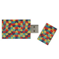 Autism Awareness-Puzzle by Shirley Taylor Wood USB Flash Drive