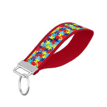 Autism Awareness-Puzzle by Shirley Taylor Wrist Keychain