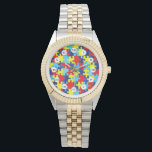 """Autism Awareness-Puzzle by Shirley Taylor Wrist Watch<br><div class=""""desc"""">Autism awareness watch. Click on the customize button to add your text. Image can be rotated or re-sized.</div>"""