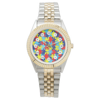 Autism Awareness-Puzzle by Shirley Taylor Wrist Watch