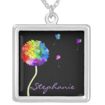 Autism Awareness Puzzle Dandelion Necklace