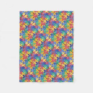 Autism Awareness puzzle fleece blanket