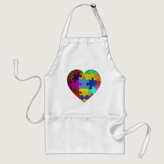 Autism Awareness Puzzle Heart Adult Apron
