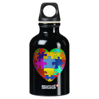 Autism Awareness Puzzle Heart Aluminum Water Bottle