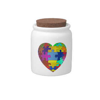 Autism Awareness Puzzle Heart Candy Dishes