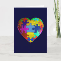 Autism Awareness Puzzle Heart Card