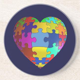 Autism Awareness Puzzle Heart Beverage Coaster