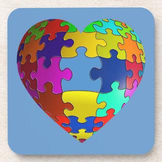 Autism Awareness Puzzle Heart Coasters