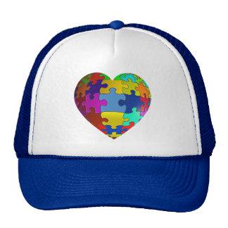 Autism Awareness Puzzle Heart Mesh Hat