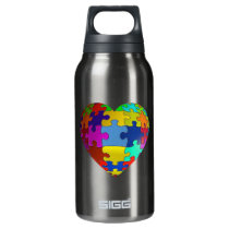 Autism Awareness Puzzle Heart Insulated Water Bottle
