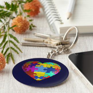 Autism Awareness Puzzle Heart Basic Round Button Keychain