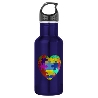 Autism Awareness Puzzle Heart 18oz Water Bottle