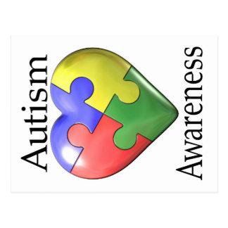 Autism Awareness Puzzle Heart Postcard