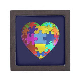 Autism Awareness Puzzle Heart Premium Keepsake Box
