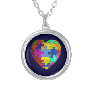 Autism Awareness Puzzle Heart Silver Plated Necklace