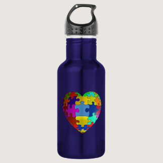 Autism Awareness Puzzle Heart Water Bottle