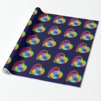 Autism Awareness Puzzle Heart Wrapping Paper