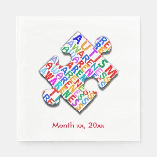Autism Awareness Puzzle Paper Napkin