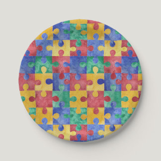 Autism Awareness puzzle paper plates