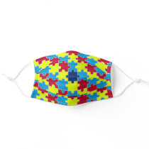Autism Awareness Puzzle Pattern Adult Cloth Face Mask