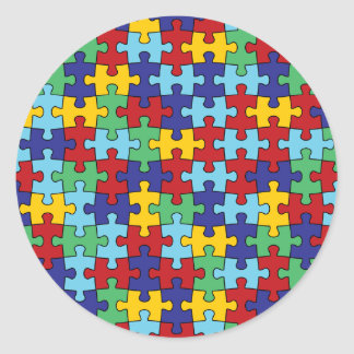 Autism Awareness Puzzle Pattern Classic Round Sticker