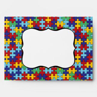 Autism Awareness Puzzle Pattern Envelope