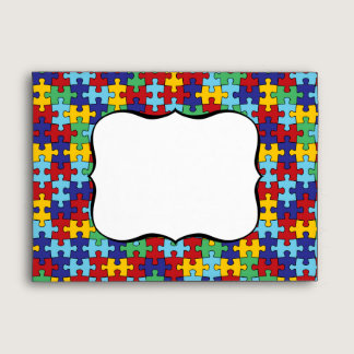 Autism Awareness Puzzle Pattern Envelope