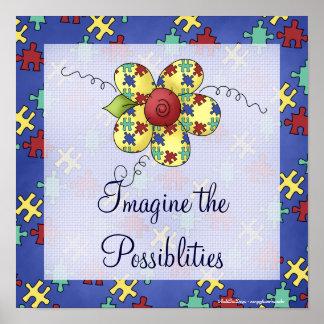 Autism Awareness Puzzle Piece Flower Print