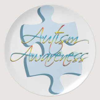 Autism Awareness Puzzle Piece Plate