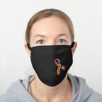 Autism Awareness Puzzle Piece Ribbon Black Cotton Face Mask