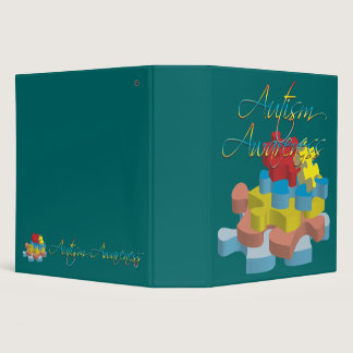 "Autism Awareness Puzzle Pieces 2"" Binder"